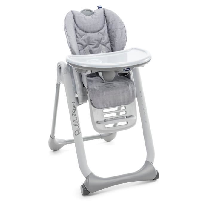 Chicco Chaise Haute Polly 2 Start Happy Silver Silver Achat