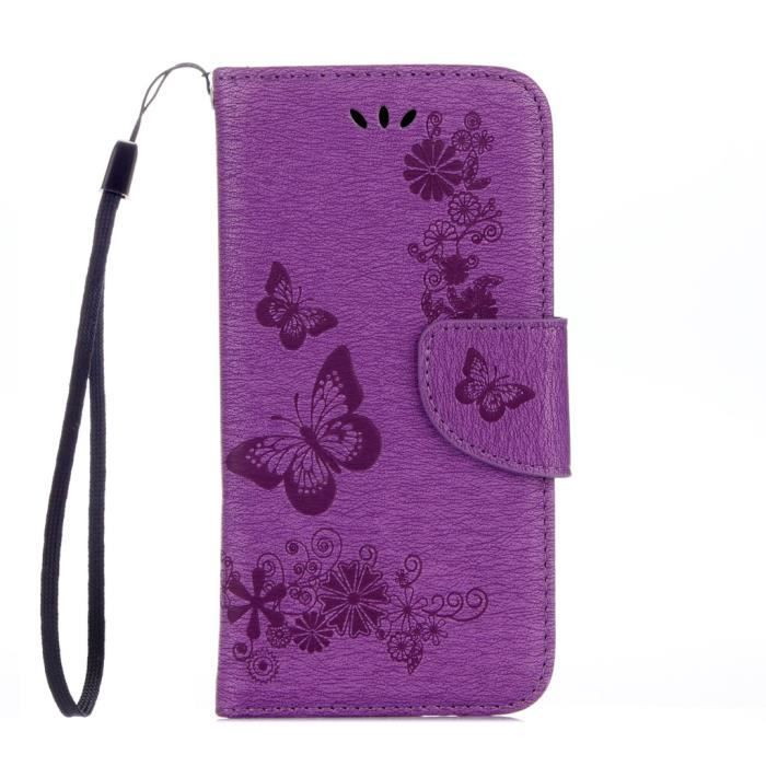 Tui pour wiko sunny sunset 2 papillon jolie pu cuir for Housse wiko sunny 2