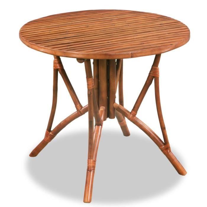 Table De Salle à Manger Bambou 85 X 75 Cm Marron Ronde Achat