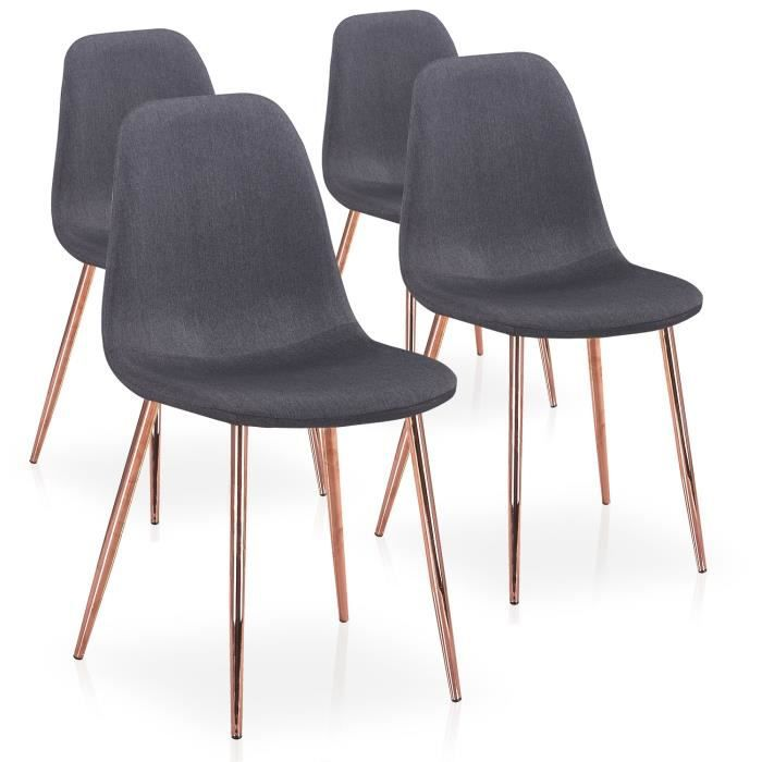 4 Or Chaises Rose Tissu De Lot Scandinaves Gao Gris Pieds Achat Ybf76gyv