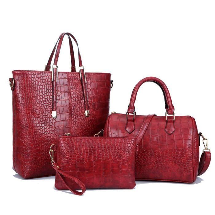 rouge Portes Main Sac Cabas Cuir D'épaule En Femme À Dos 3 Bandoulière Pcs Pu wqA1SBF
