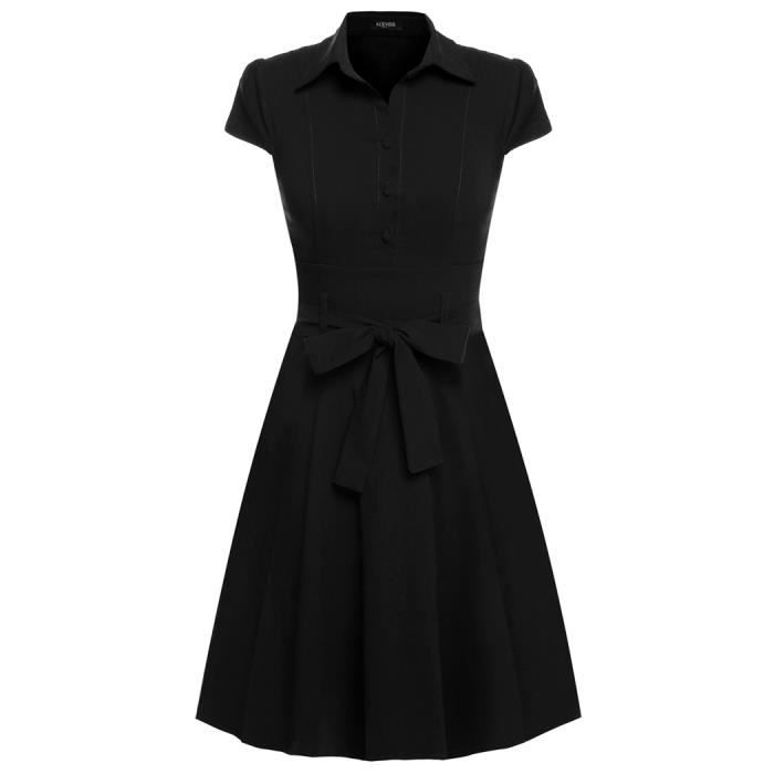 robe vintage femme classique avec ceinture Noir