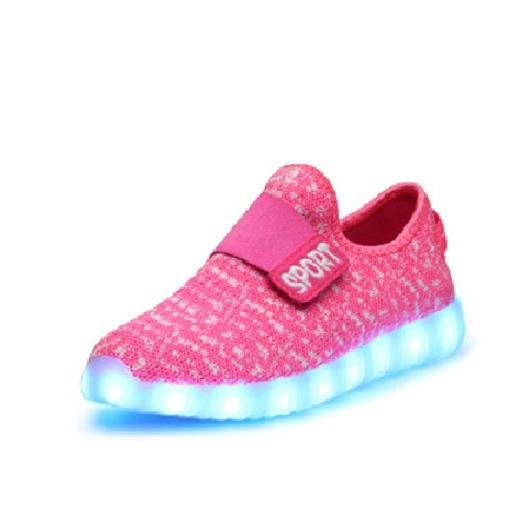 0ac0b4c0acf5e pointure 34 ROSE + point de polka Une paire de chaussures luminaires LED  fashion mode cool pour enfant fille Sport 8 Modes 7 Coul.