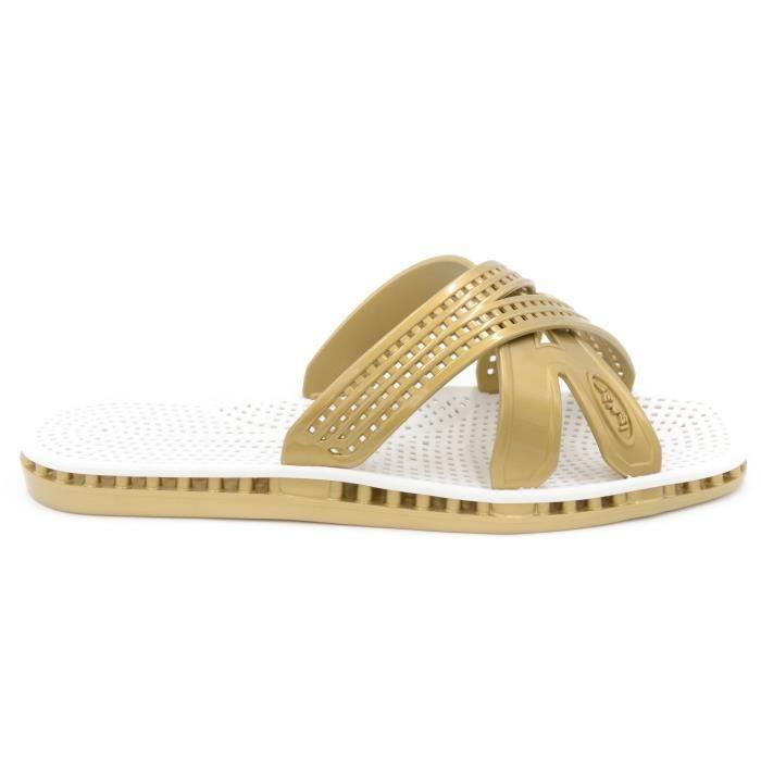 I Sandale infradito basso femme cuir e strass blanc art.6025 T. 38