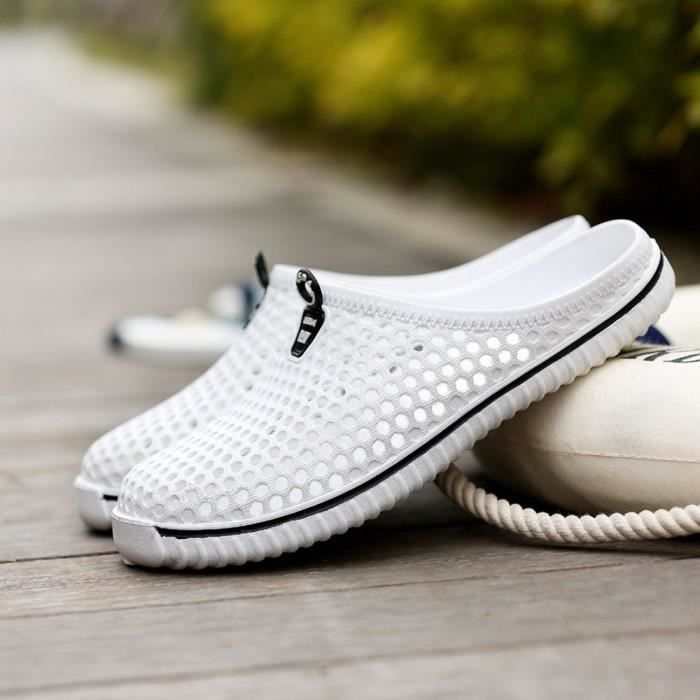 Hommes Chaussures Unisexe Évider Casual Couple Plage Sandale Tongs Chaussures LMH80305555WH blanc