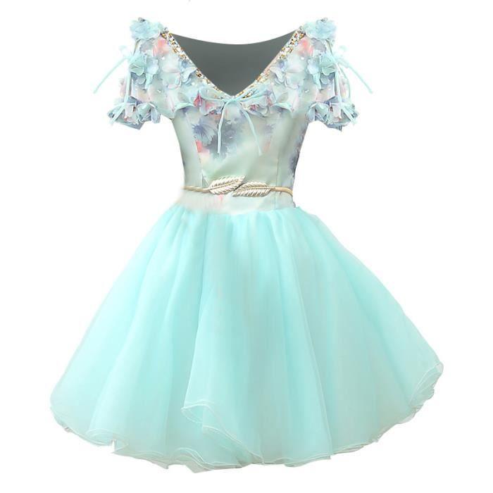 cf5d78c9c9a Robe Vert Clair Courte Robe de soirée Mariage Bal Fête Anniversaire Robe  Chiffon avec des Fleurs Lace Pour Femme WK814-34