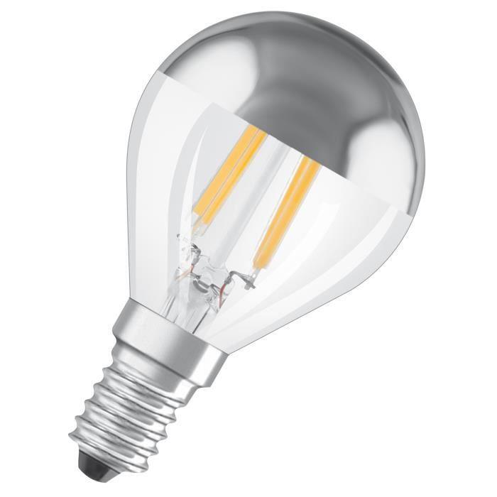 OSRAM Ampoule LED E14 standard Déco calotte argentée 4 W ...