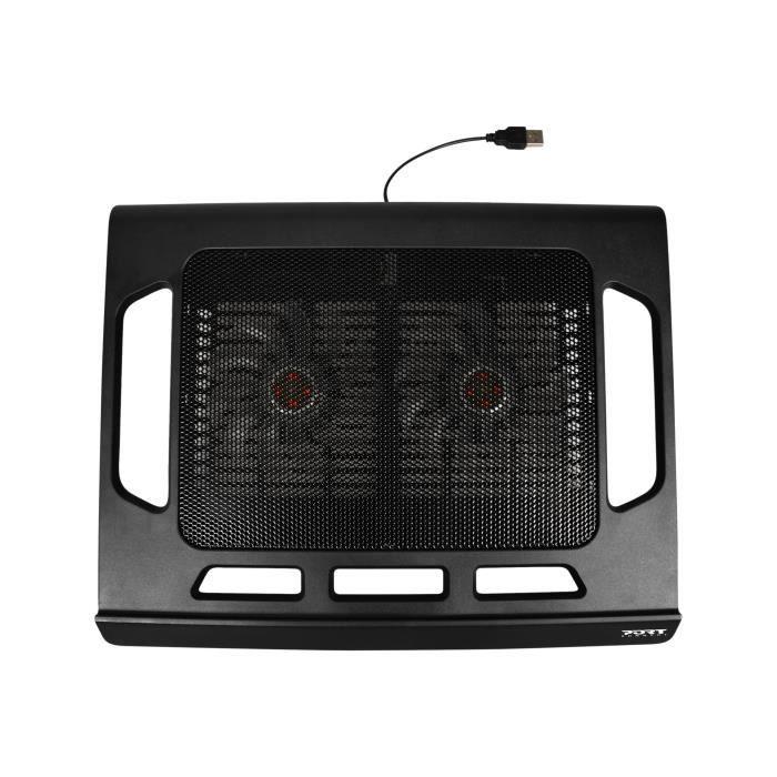 PORT Desk Cooling Stand Support pour ordinateur portable avec 2 ventilateurs  de refroidissement 17