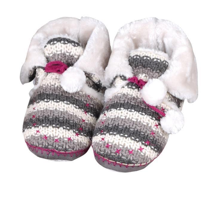 Tofern Chaussons Bottes Tricot Fourure Doublée Thermique Ergonomique Hiver Adulte Femme Enfant Fille gris EU 39-40 jhBmLc6