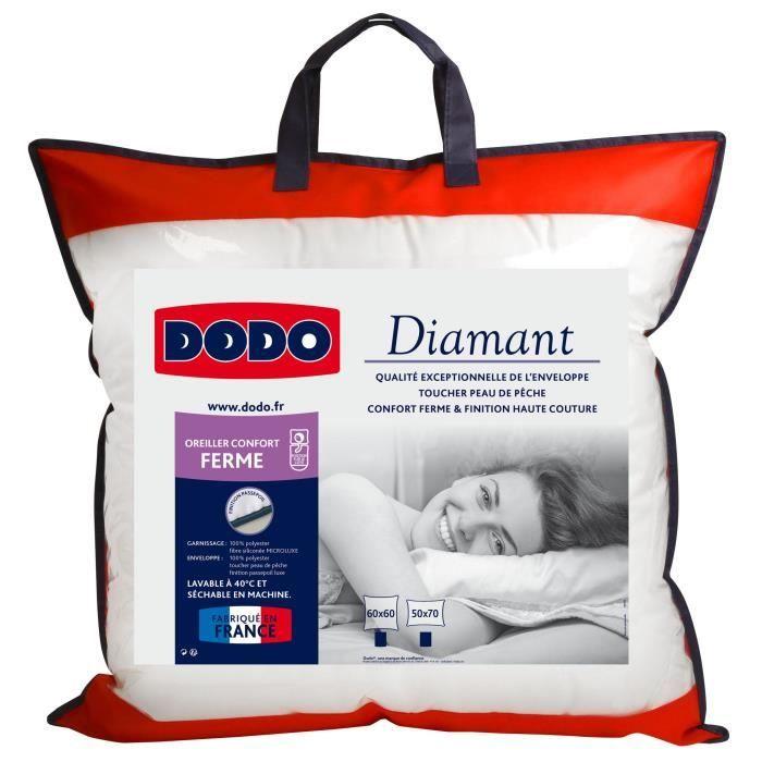 DODO Oreiller confort ferme DIAMANT   60x60 cm   Passepoil bleu