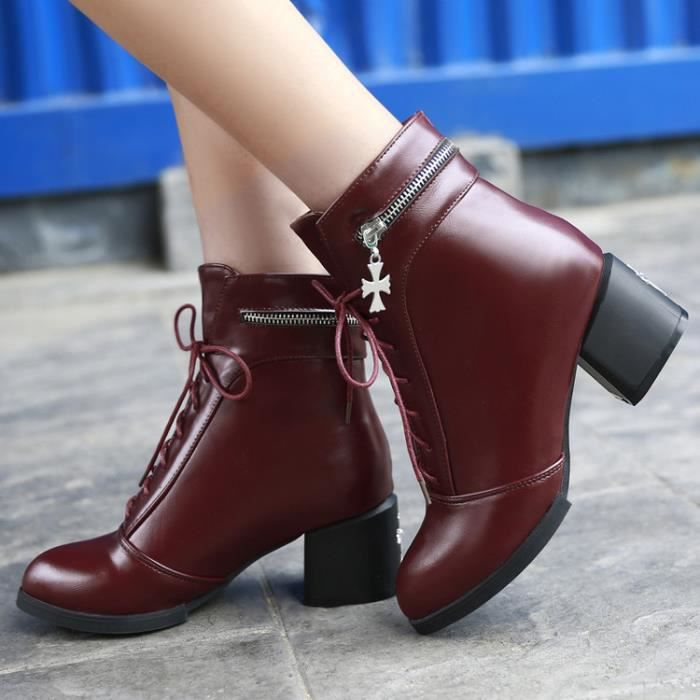 bottes courtes-Pure Color talonpais des femme... E9yESfznq