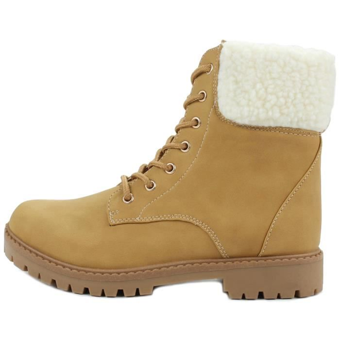 Faux Wool Fur Cuff Lace Up Nubuck Combat High Top Ankle Boots HW9TI Taille-39