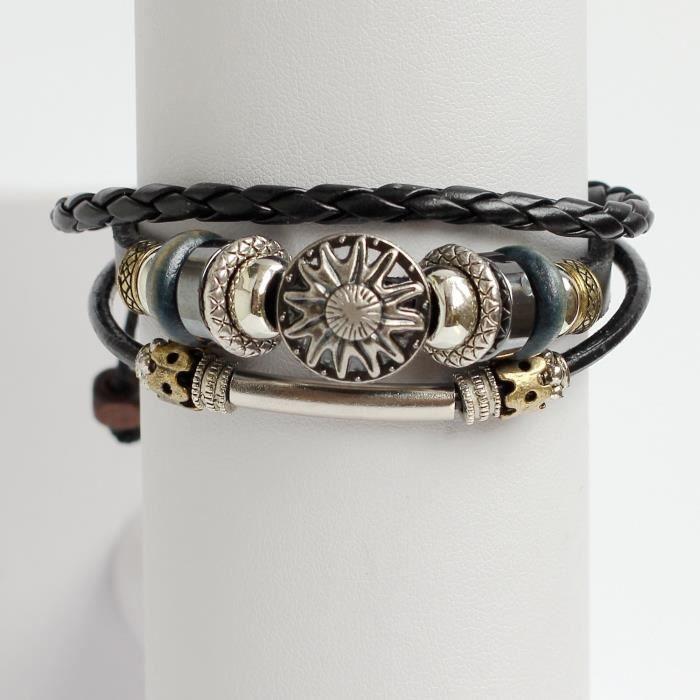 Bracelet en cuir pour femme en cuir Bracelet Sun Charm Bracelet Bracelet Perles Bracelet Bracelet Anneaux PB27Y