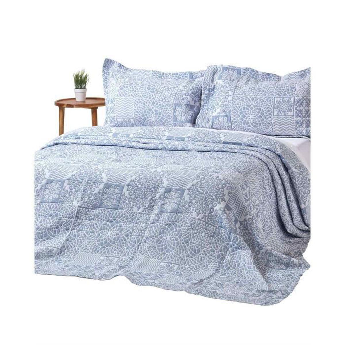 JETÉE DE LIT - BOUTIS Couvre-lit bleu style patchwork effet mosaïque en