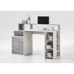 BUREAU  BOLTON Bureau contemporain blanc et gris effet bét