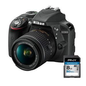 Pack NIKON D3300 Noir + AF-P 18-55VR - Appareil photo numérique reflex avec objectif + PNY SDHC 8 Go Performance 80MB/s