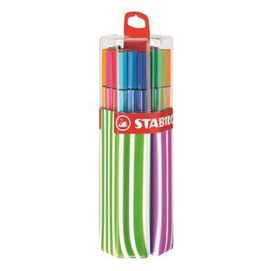 STABILO Twinpack de 20 Feutres Pen 68 - Avec attache - Décor Framboise/vert pomme- Couleurs Assorties