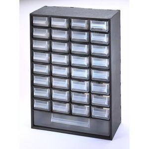 SUNDIS Bloc de rangement Multibox avec 33 tiroirs 29,8x15x41,4 cm noir et transparent