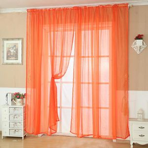 RIDEAU Rideau de fenêtre de porte en tulle de couleur uni