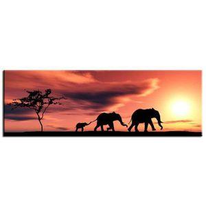 TABLEAU - TOILE ELEPHANTS Tableau déco 80x30cm