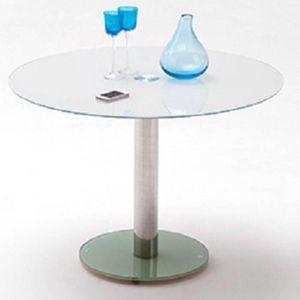 TABLE À MANGER COMPLÈTE Table repas ronde design FATEN en verre blanc 92b5636d719d
