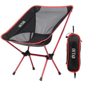 CHAISE DE CAMPING OUTAD Chaise Pliante Legere Camping ROUGE