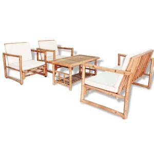 Salon de jardin bambou - Achat / Vente pas cher