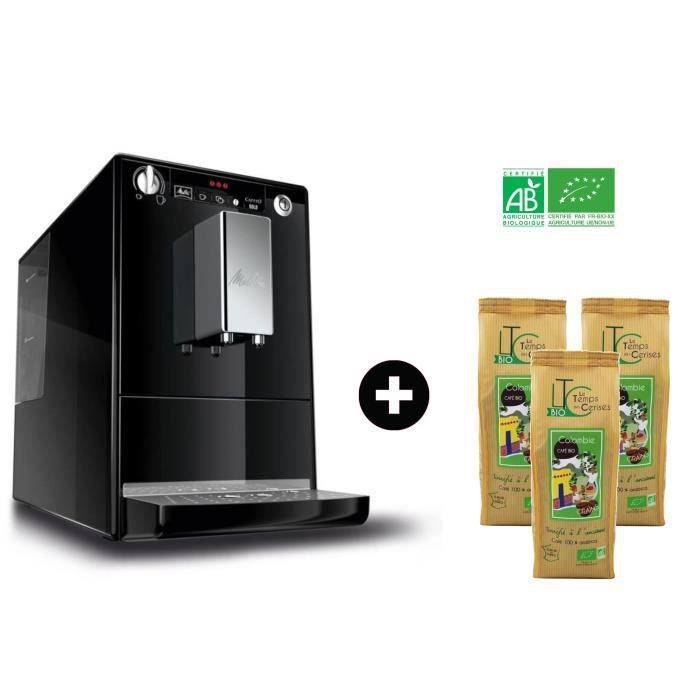 MELITTA E950-101 Machine expresso automatique broyeur - Noir + 3 paquets LE TEMPS DES CERISES Café Grain Colombie Bio 250 g