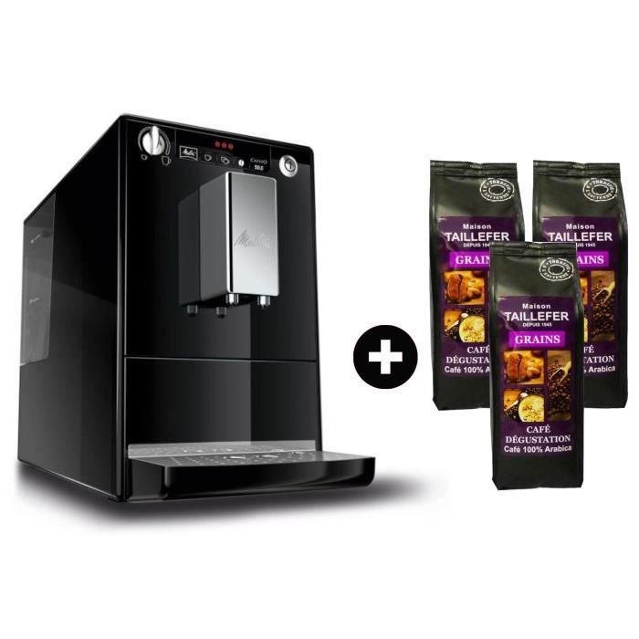 MELITTA E950-101 Machine expresso automatique broyeur - Noir + 3 paquets MAISON TAILLEFER Café Dégustation Grains 250g