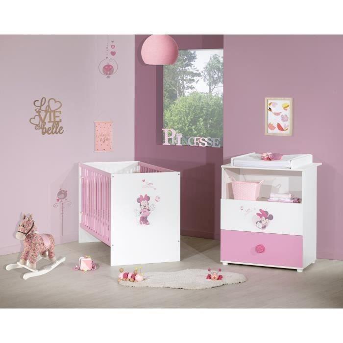 MINNIE Duo Commode à langer et lit bébé 60x120 cm - Disney Baby
