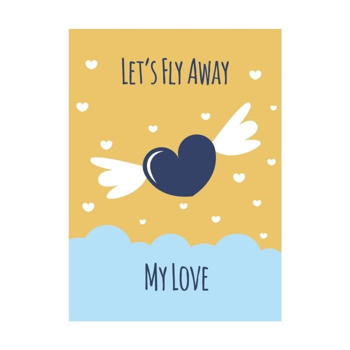 Stickers adhésif mural Lets Fly Away My Love Poster - Multicolore - 30x41cm