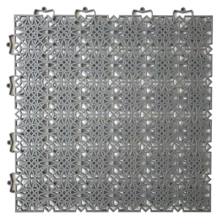 D-C-FLOOR Dalles de sol clipsables - Polypropylène - 38 x 38 x 1 cm - Gris anthracite