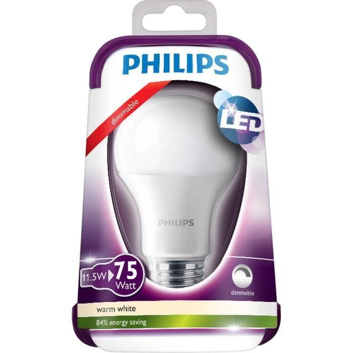 PHILIPS Ampoule LED E27 11,5W équivalence 75W