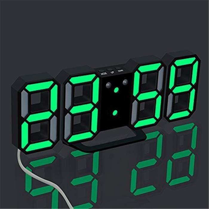 horloge murale électronique led réveil numérique 3d led 24 12