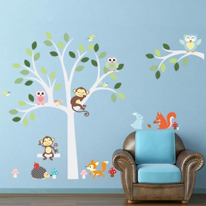 pvc amovible sticker adh sifs muraux animaux singe hibou arbre de balan oire pour enfant b b. Black Bedroom Furniture Sets. Home Design Ideas