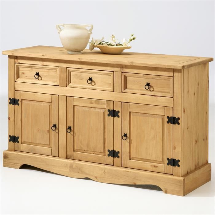 Meuble Mexicain buffet commode vaisselier teuquila, pin massif style mexicain