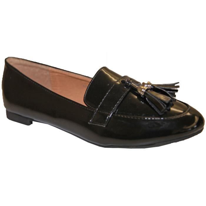 86387f99206d4 Chaussure Mocassin Talon plat Femme Vernis Pompon Glands Pierre-cedric !