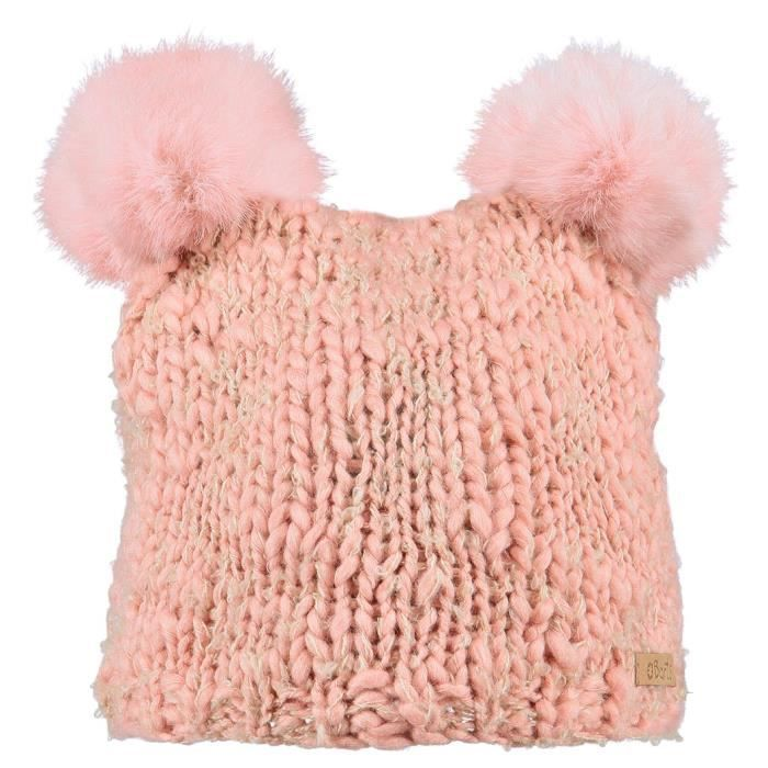 c670e42252 BARTS - Bonnet 2 pompons imitation fourrure rose tendre enfant fille 3 au 10  ans Barts