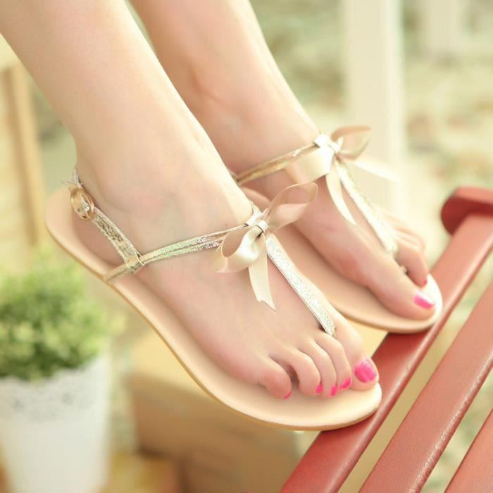 sandales femmes plat Été douce plage douce Bowknot