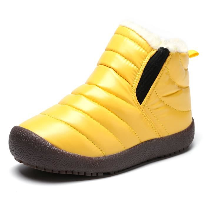 5d51bce36e431 Bottine Enfant Fille Garçon Hiver Boots de Neige Chaud - Jaune Jaune ...