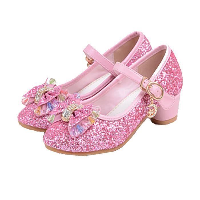 77ac3df8237bb Ballerines à Talon Enfant Filles Chaussures Princesse pour Déguisement Soirée  Cérémonie Mariage Noël - Rose