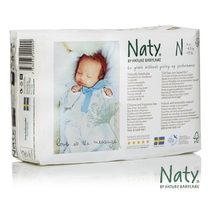 Naty Eco Couche Ecologique Pour Bébé Nouveau Né Prématuré Blanc