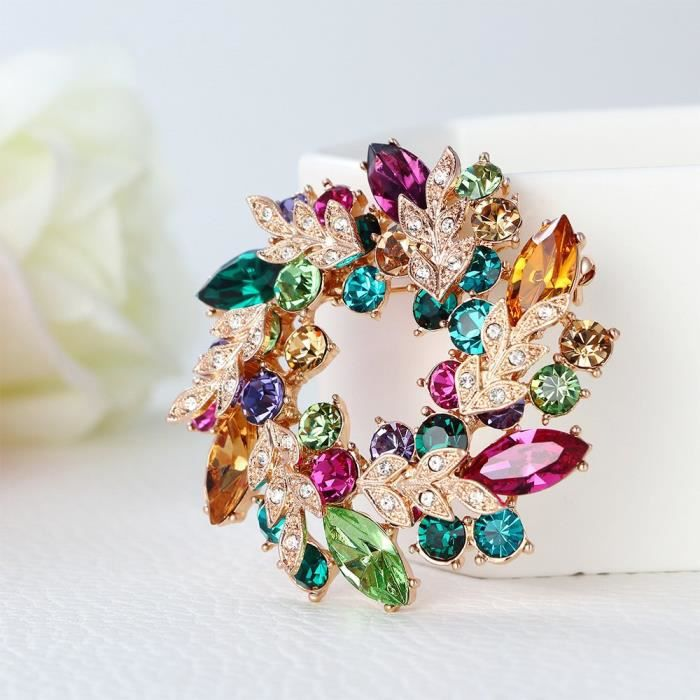 Womens Rose Gold Plated Cubic Zirconia Flower Brooch Pin ForI0YAN