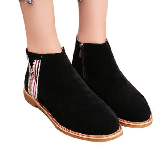 Mode Vintage De Cuir Confortable Femmes Souple Botte En Plates Bottines Noir Chaussures UgWUAZwrq