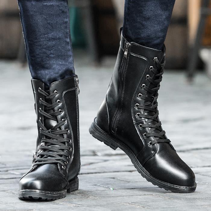 Bottes homme Bottes mode Bottes chaudement Bottes avec coton Bottes pour l'hiver Chaussures étanches Bottes mode Chaussures