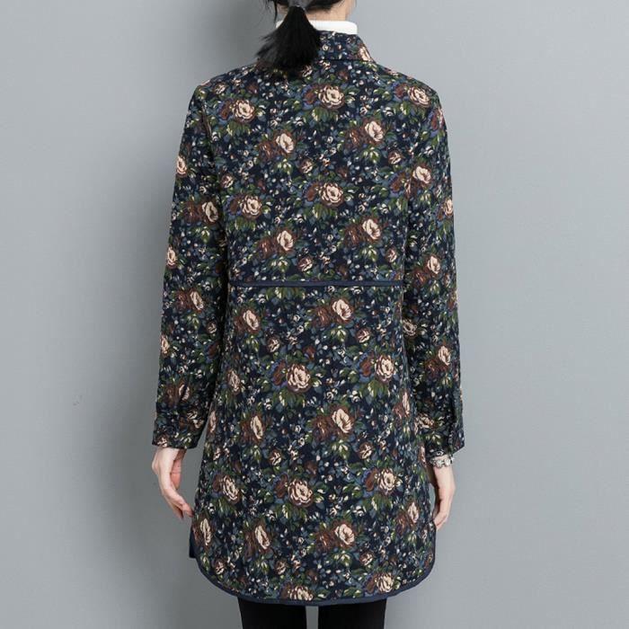 Longue Poches En Outwear Manteau Marine Parka Boutons Les Lin Vintage Fleurs De Femmes Aq8pn4