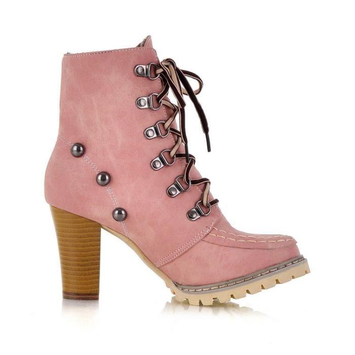 Bottes Talon Lacets À Non Haut Court Chaussures Loisirs x3280 Rivets Femme slip Tube q1aaHz