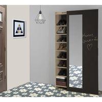 ADAM Meuble à chaussures industriel décor châtaignier naturel et mélamine gris anthracite - porte coulissante - L 101 cm