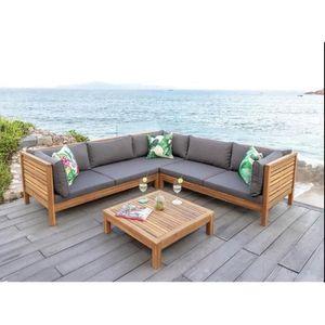 Salon de jardin bois angle - Achat / Vente pas cher