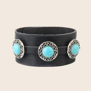 BRACELET - GOURMETTE Bracelet en Turquoise naturel incrusté de vachette